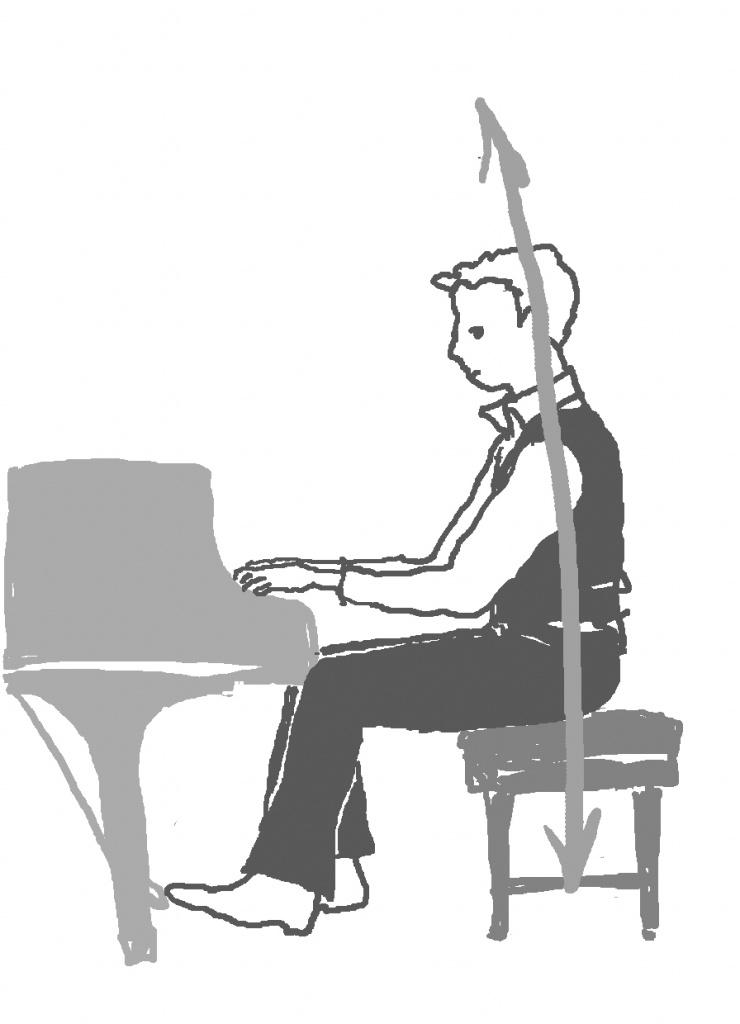 ピアノを弾く男性が方向性を思い描くイラスト