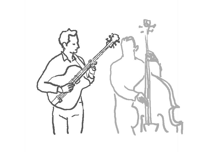 ギターとコントラバスを演奏する人たちのイラスト