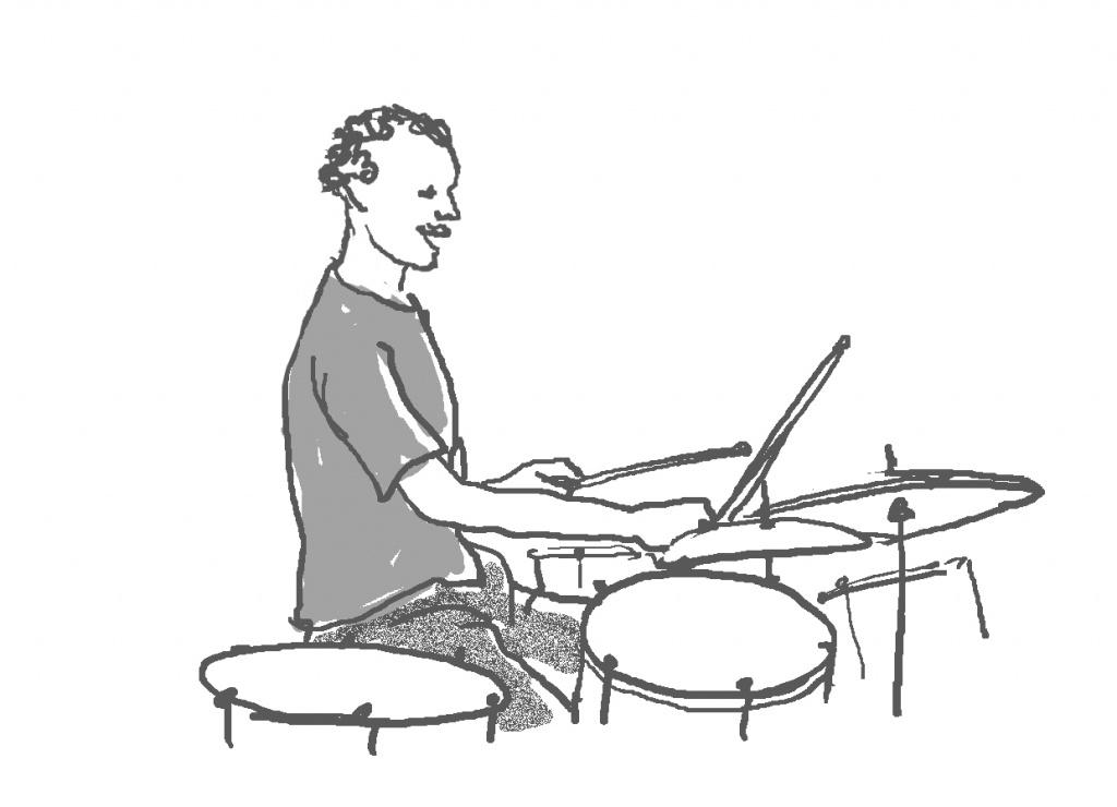 ドラム奏者のイラスト